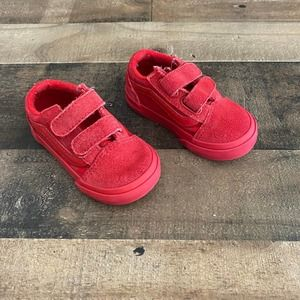 Vans Toddler Old Skool V Solid Red Sneakers Size 5 Velcro Suede Low Top Shoes